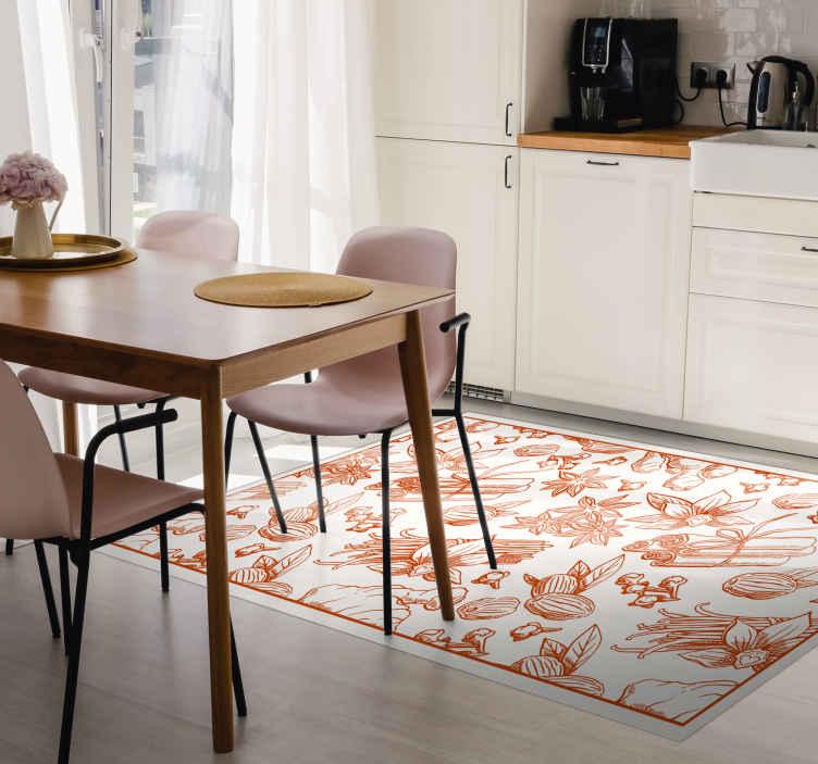 TenVinilo. Alfombra vinílica cocina con especias marrones. Fantástica alfombra vinílica cocina con especias para que decores tu casa con un diseño original. Elige el tamaño ¡Envío exprés!