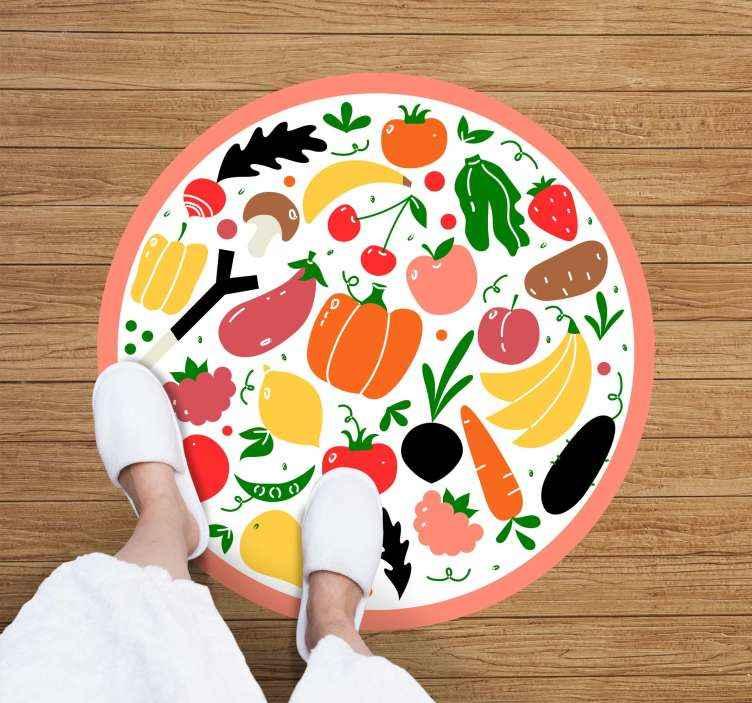 TenStickers. Vinylteppich Vintage Nahtloses gemüsemuster. Nahtlose gemüse Muster küchenbodenfliesen für küche und esszimmer dekoration. Auf dem teppich sind verschiedene designs von früchten.