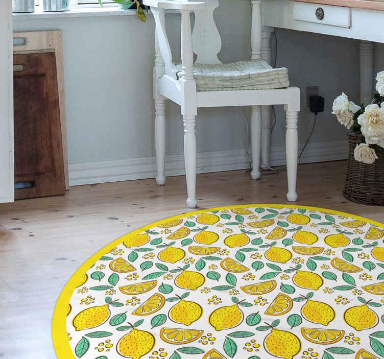 TenVinilo. Alfombra vinílica cocina patrón de limón. Preciosa alfombra vinílica cocina de forma redonda y con patrón de limón para que decores tu casa de forma original ¡Envío exprés!