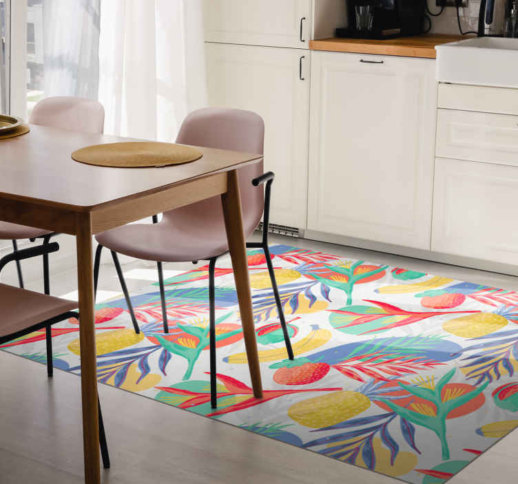 TenStickers. Dywan winylowy Tropikalne owoce. Dekoracyjny dywan w kształcie owoców do kuchni ożywi twoją kuchnię lub jadalnię w doskonały sposób. Oryginalne, trwałe i łatwe w utrzymaniu.