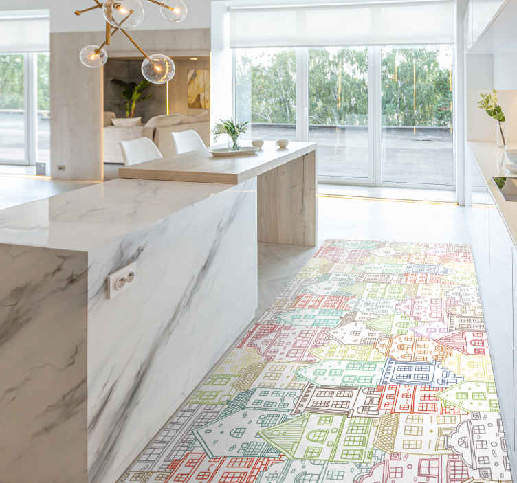 TenStickers. Hand-drawn houses kitchen flooring. Hand-drawn houses kitchen floor tiles. The carpet is lovely for a kitchen floor space, dinning, hallways etc. It is original and easy to maintain.