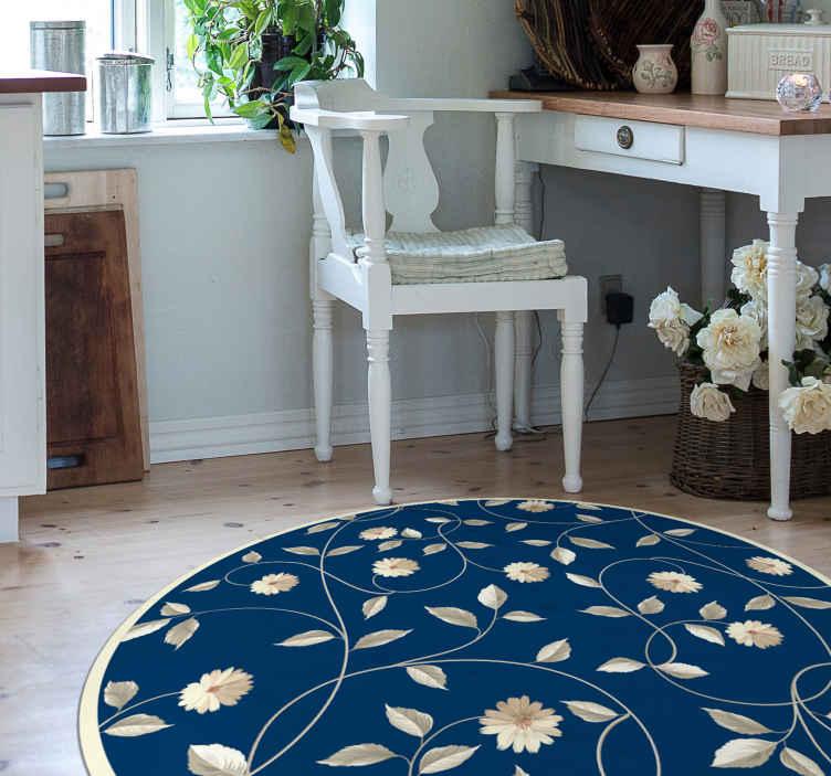 TenVinilo. Alfombra vinilo habitación flores estilo vintage. Hermosa alfombra vinílica vintage con flores sobre fondo azul para que decores tu salón o habitación. Elige medidas ¡Descuentos disponibles!