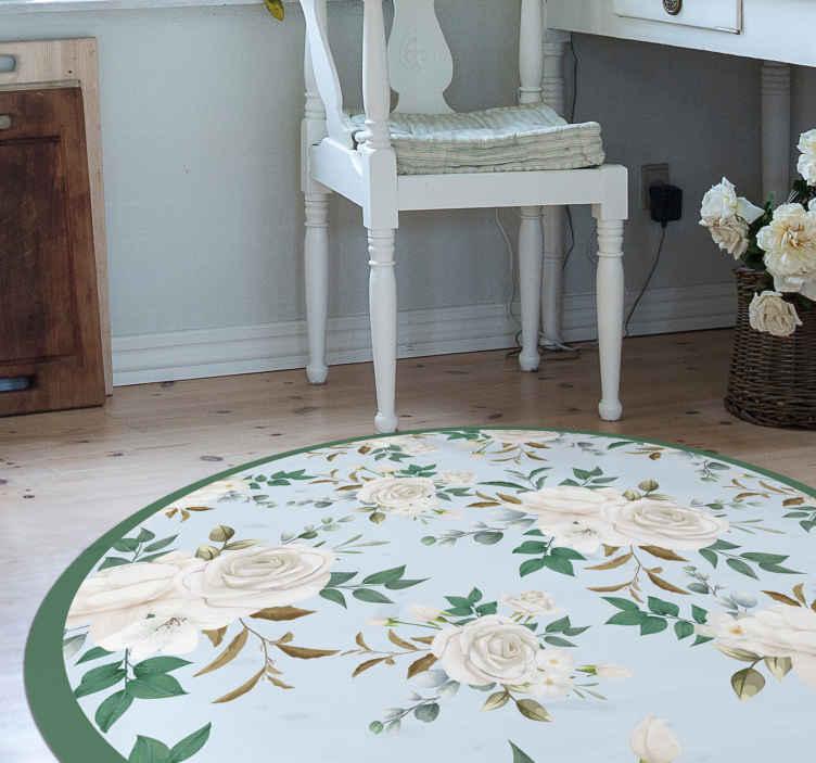 TenVinilo. Alfombra vinílica cocina patrón rosas elegante. Fantástica alfombra vinílica cocina vintage con flores elegantes con fondo verde. Diseño redondo para decorar tu hogar ¡Envío exprés!