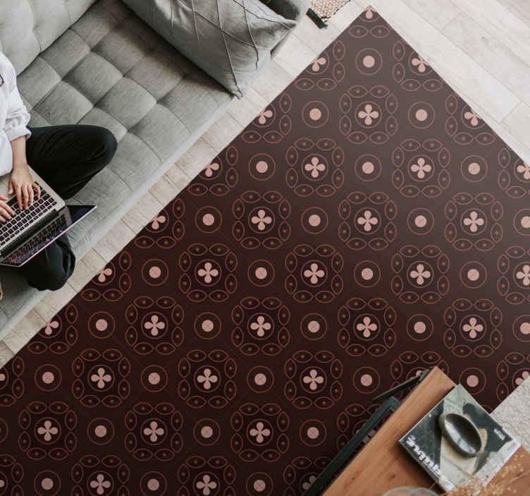 TenStickers. Dywan winylowy Brązowy ornamentalny wzór. Oryginalny dywan winylowy o prostokątnym kształcie i wzornictwie wielu mandali, które wprowadzą do Twojego domu cichą i elegancką atmosferę.