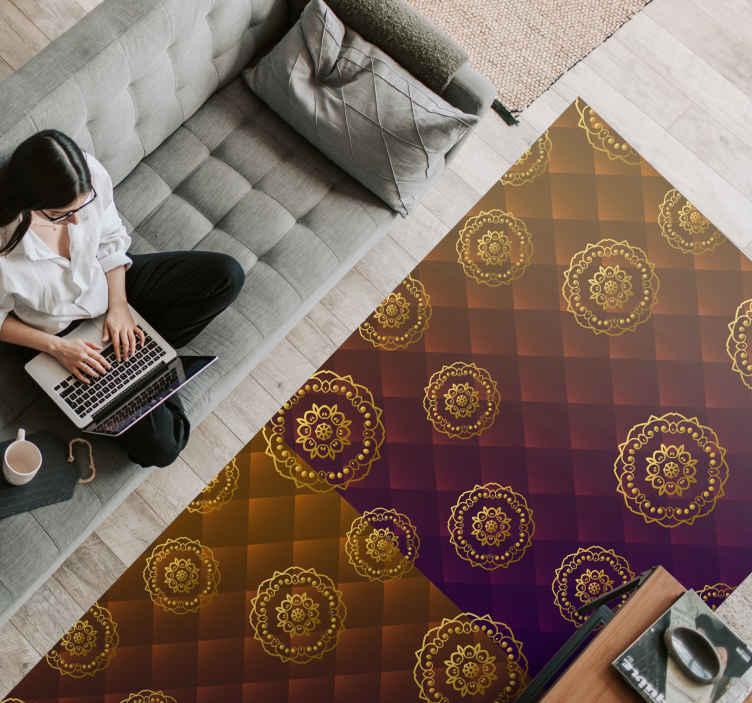TenStickers. πολύχρωμο κομψό χαλί μάνταλα. καφέ ορθογώνιο πρωτότυπο χαλί βινυλίου με μοδάτα μοτίβα και γεωμετρικά σχήματα που ταιριάζουν απόλυτα με τη διακόσμηση του καθιστικού σας