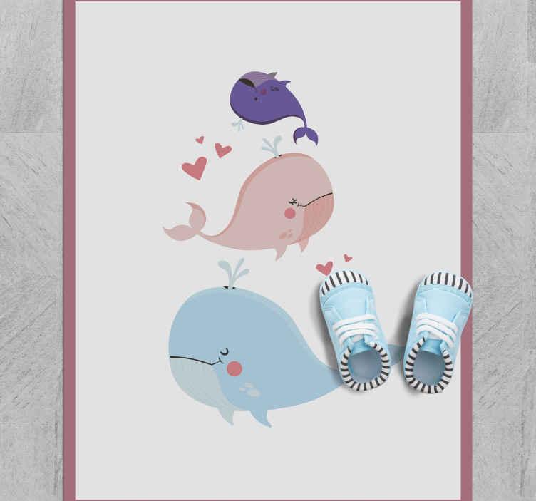 TenStickers. 鲸鱼玩动物垫. 今天就用这个可爱的卡通鲸鱼维尼地毯装饰您的孩子的卧室,让它们快乐!如果您今天订购,则几天之内就可以收到!