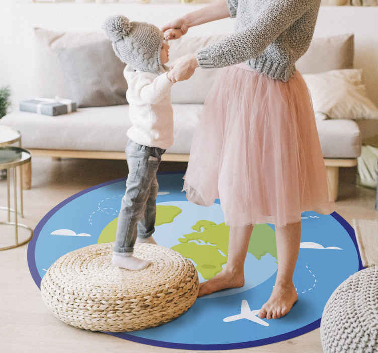 TenStickers. Round modern map vinyl map rug. Vinyl rug with planet Earth, perfect as a decoration for your kids room. It easy to clean and store. Made of high quality vinyl.