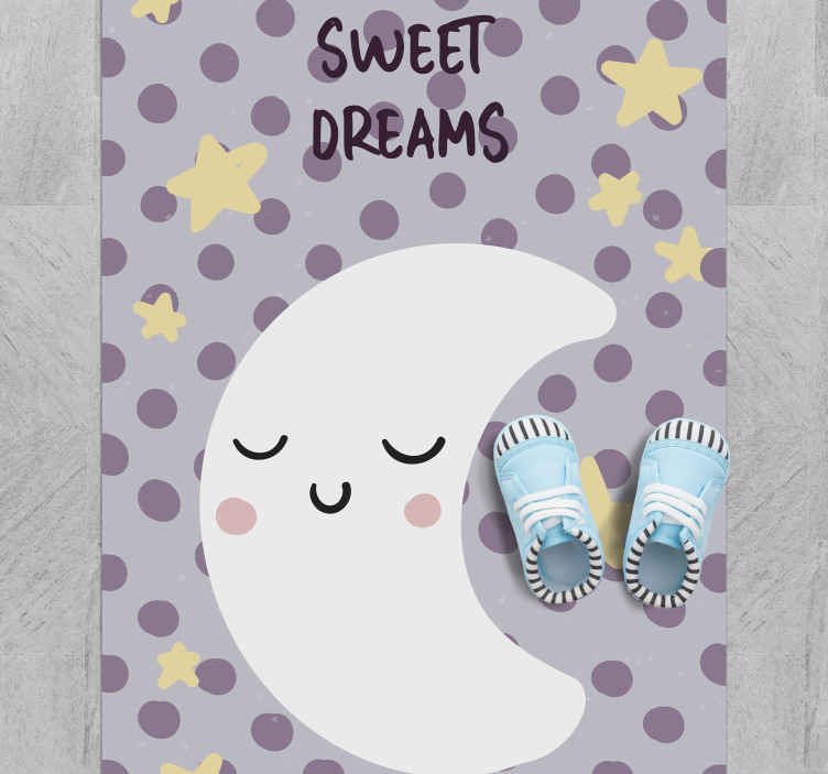 TenStickers. Sweet dreams moon baby mat. Vinyl rug with a cute moon, perfect as a decoration for your kids bedroom. Easy to clean and store. Made of high quality vinyl. 100% satisfaction.