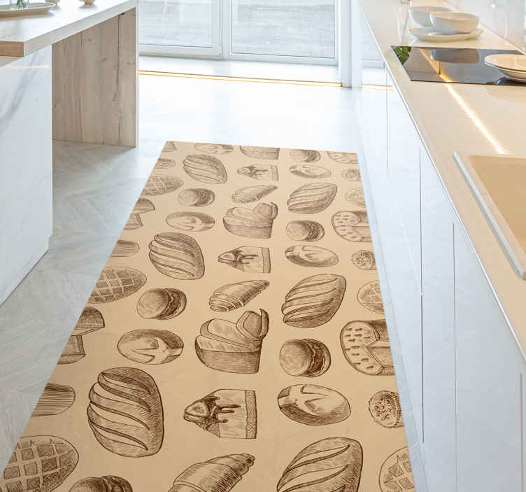 TenStickers. Bakery design kitchen flooring. Beige vinyl rug with bakeries, perfect for decorating your kitchen. Easy to clean and store. Made of high quality vinyl.
