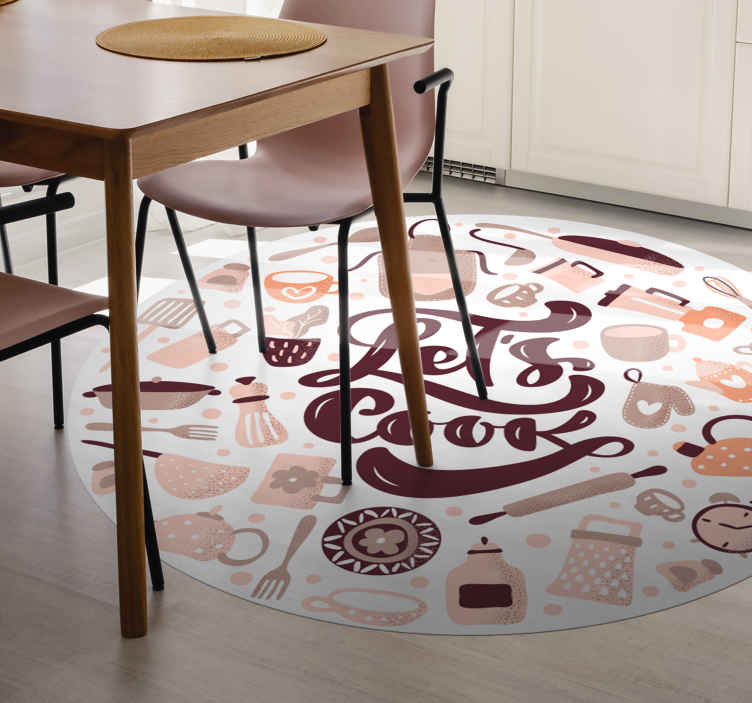 TenStickers. Let's cook kitchen vinyl carpet. A let's cook and cooking elements vinyl rug to make the floor of your house look wonderful. The vinyl rug is made of high quality vinyl.