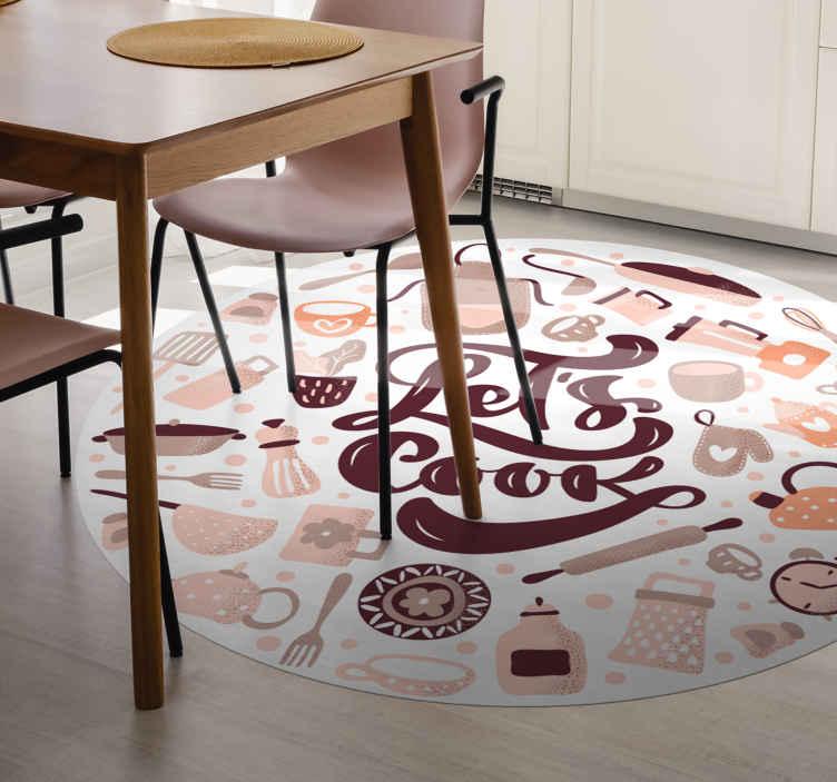 TenStickers. Let's cook vinyl tapijt . Een vinyl vloerkleed laten we koken en kookelementen om de vloer van uw huis er prachtig uit te laten zien. Het vinyl vloerkleed is gemaakt van hoogwaardig vinyl.