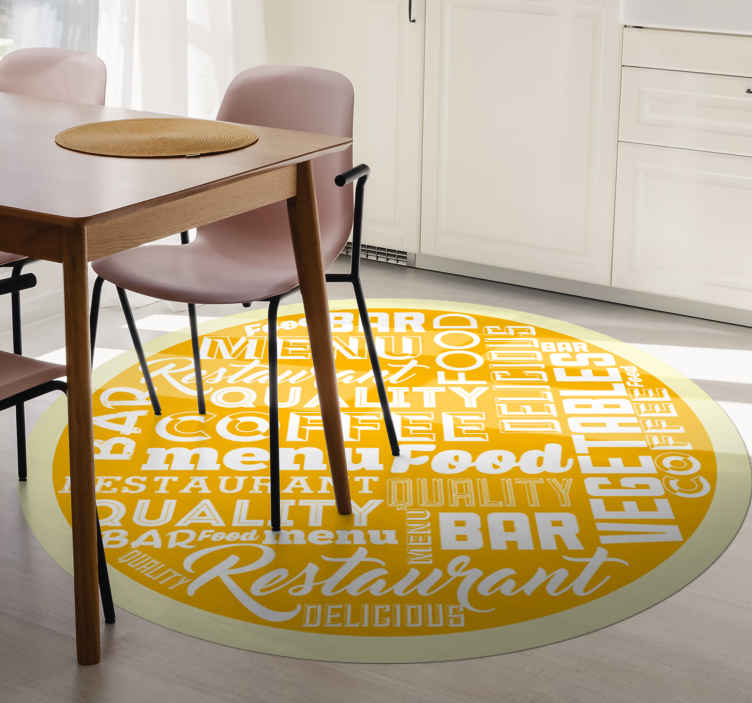 TenStickers. Different kitchen quotes vinyl carpet. A yellow kitchen quotes vinyl rug to make the floor of your house look wonderful. The vinyl rug is made of high quality vinyl.