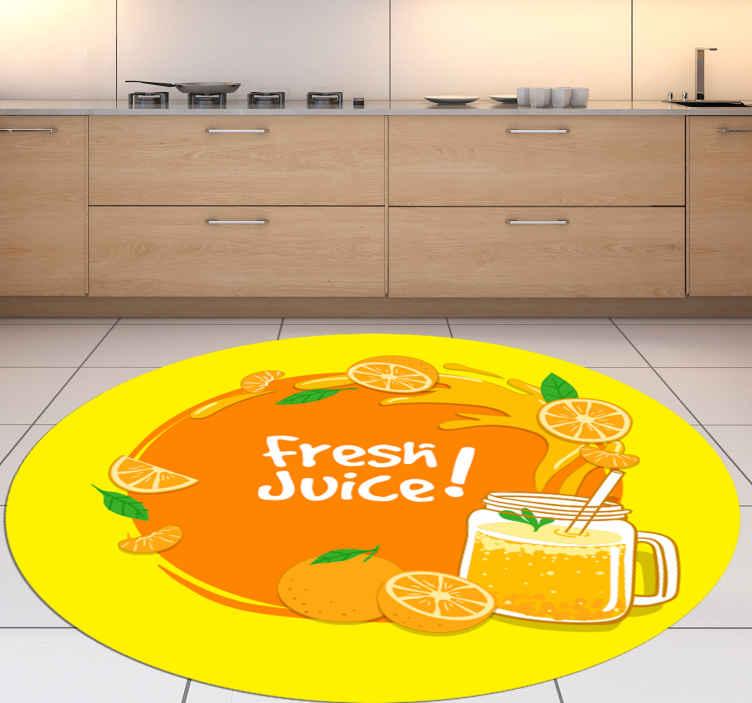 TenVinilo. Alfombra vinílica cocina zumo de naranja. La manera perfecta de mantener su cocina hermosa y con una decoración maravillosa es con esta alfombra vinílica redonda ¡Envío exprés!