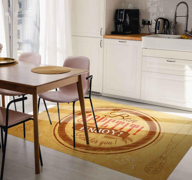 TenVinilo. Alfombra vinílica cocina frase buen provecho. La manera perfecta de decorar tu cocina con esta alfombra vinílica frase buen provecho para decorar tu casa ¡Descuentos disponibles!