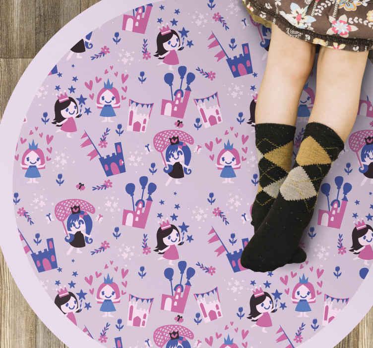 TenStickers. Elemente magice micul covor de vinil. Oferi-i fiicei tale o surpriză cu acest covor drăguț din inimă și diamante, din vinil, cu un fundal ușor drăguț. Are forma rotunda!