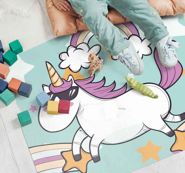TenVinilo. Alfombra vinilo infantil unicornio con gafas. Alfombra vinilo infantil de un unicornio con unicornio con gafas de sol ¡Te encantará tener este diseño en casa! ¡Envío exprés!