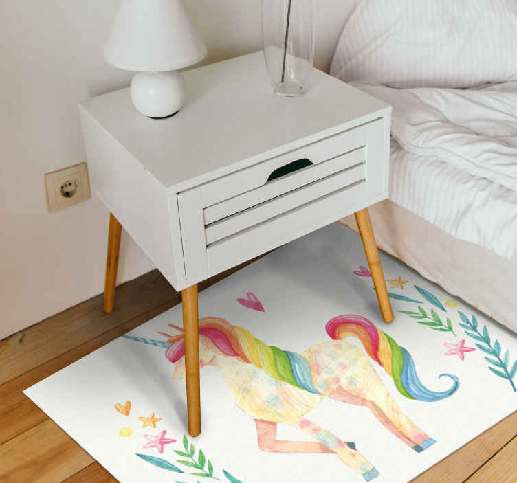 TenStickers. unicorn horse with beautiful hair animal mat. Vinyl carpet with unicorn horse with beautiful hair. This item will look stunning in your bedroom or children's room. It is subtle.