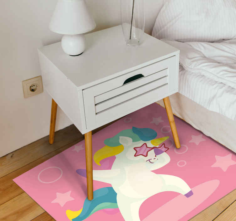 TenStickers. white dabbing unicorn with boom comic text animal mat. Surprise your daughter today with this cool dabbing unicorn vinyl rug! Both easily washable and sweepable. Comes non-allergic and anti-slip. Buy now!