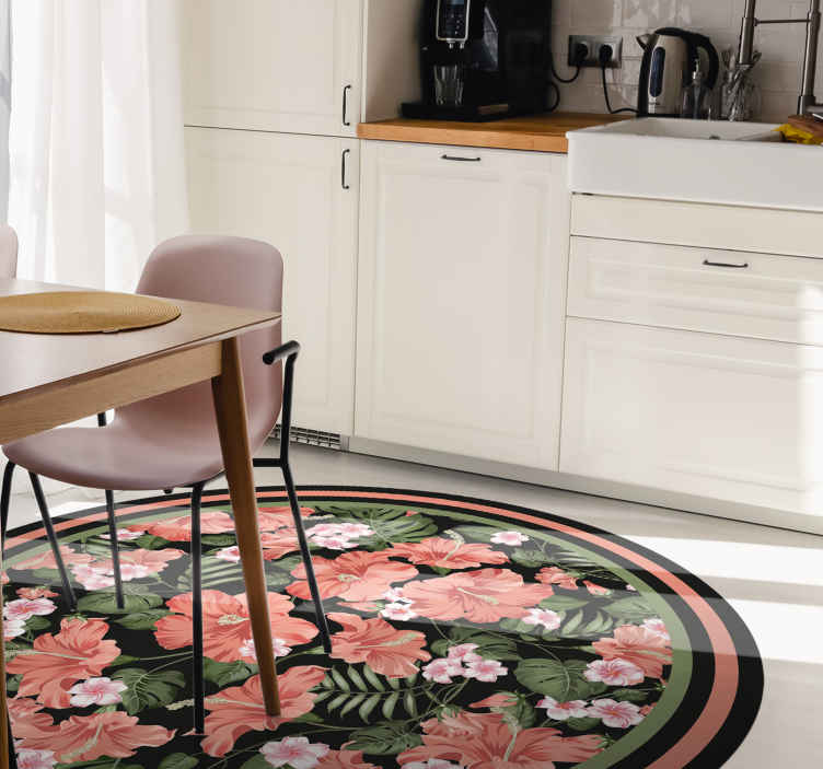 TenStickers. Tropical blooming hibiscus kitchen flooring. Round vinyl rug with tropical blooming hibiscus. This item is a rich decoration that will make any room look more elegant.