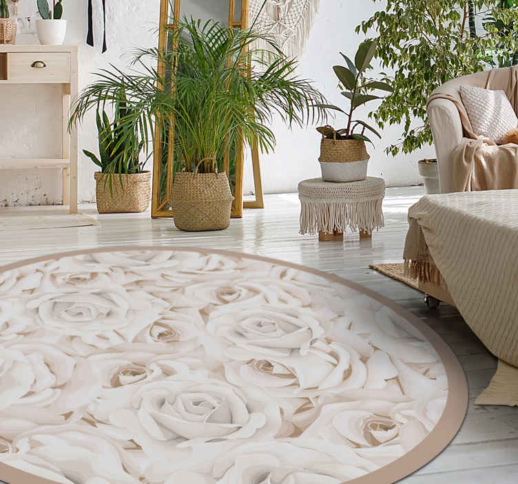 TenStickers. Elegant white roses bedroom carpet. Round rug with elegant white roses. This decorative object is very subtle in color and will certainly be suitable for any room in your home.