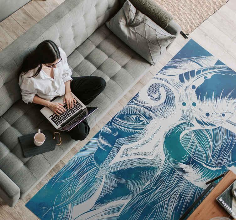 TenVinilo. Alfombra vinilo mosaico azul abstracto. Revele su originalidad y gusto de calidad con nuestra alfombra vinilo mosaico original para la decoración de su hogar ¡Descuentos disponibles!