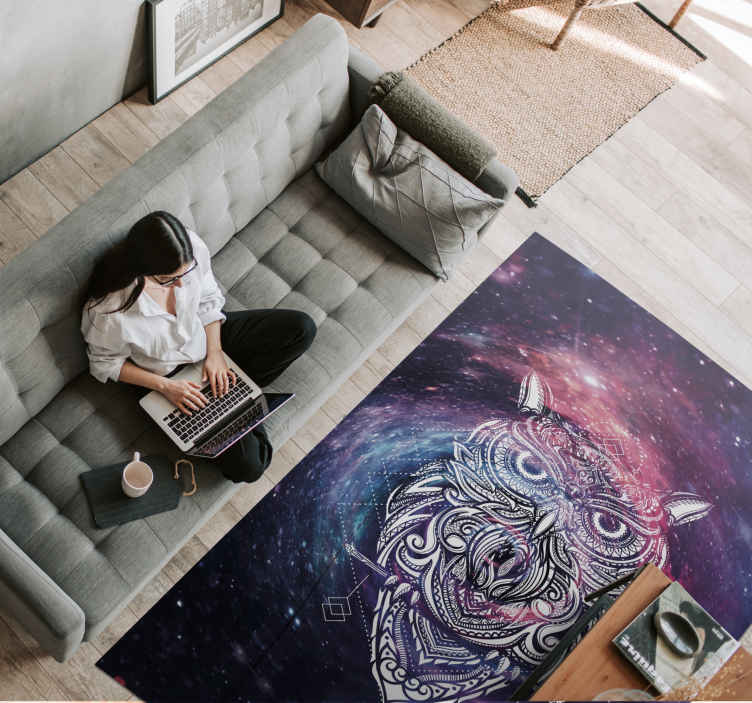 TenStickers. Geometric owl bedroom carpet. Looking for something extraordinary to create a magnificent atmosphere in your home?  this realistic visual effect geometric animal owl rug would do.
