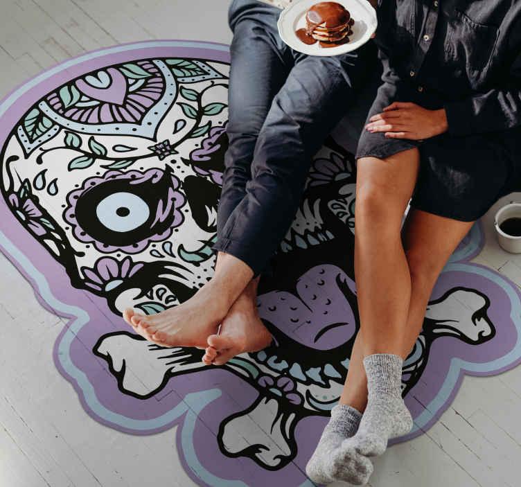 TenVinilo. Alfombra vinilo juvenil cráneo blanco y negro. Diseño de alfombra vinilo juvenil para dormitorio de calavera abstracta. . Fácil de mantener y original ¡Descuentos disponibles!