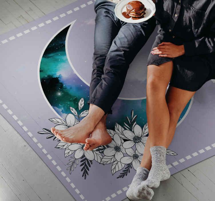 TenStickers. Tappeto in pvc per camera da letto Galassia d'acquerello. Tappeto per camera da letto galassia acquerello perfetto per decorare qualsiasi parte della tua casa. Un tappeto originale realizzato con vinile di alta qualità.