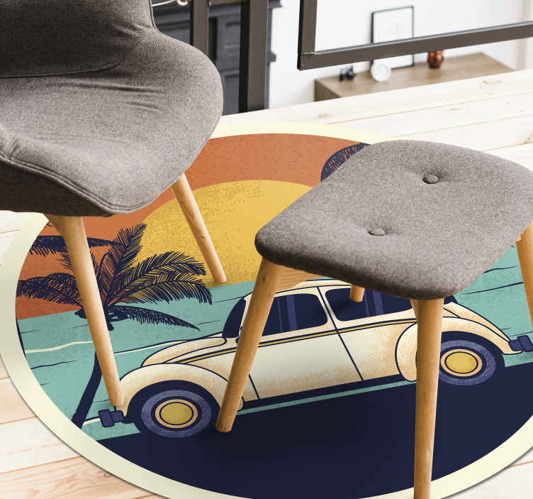 TenStickers. Welcome to 70's retro rug. This 70's vintage vinyl rug is a perfect fit for any floor in your home, or even at your workplace. Show off this unique design now!