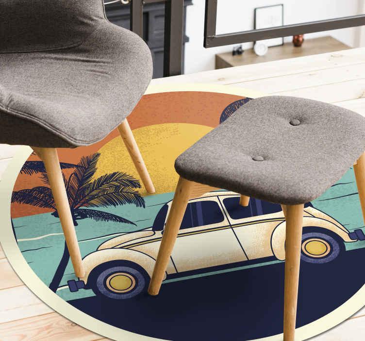 TenStickers. 欢迎来到70年代的复古地毯. 这款70年代的老式乙烯基地毯非常适合您家中甚至工作场所的任何地板。现在炫耀这个独特的设计!