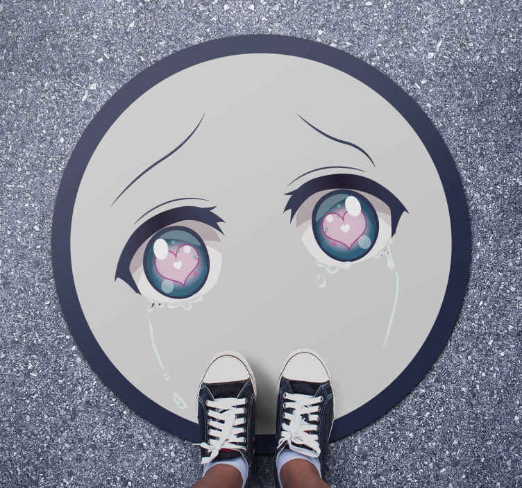 TenStickers. Crying anime eyes teenage vinyl rugs. A fantastic way to change the look of your teenagers room with this crying anime eyes vinyl rug with hearts on the eyes.