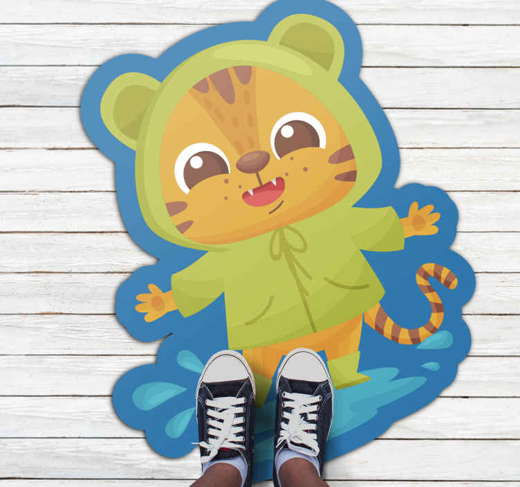 TenStickers. Adorable anime tiger vinyl mat. The perfect way to make your child happy and to decorate their room in a cute way with this green outfit tiger vinyl rug.
