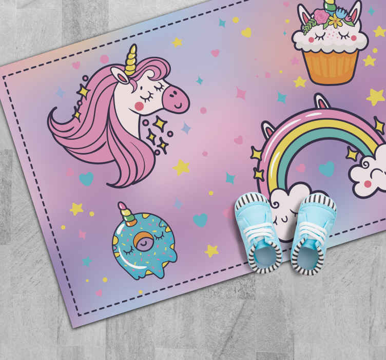 TenStickers. Adorable unicorn and candy vinyl carpet. A wonderful unicorn and cupcake vinyl rug to decorate your kid's room. It is made of high quality vinyl which makes it very resistant.
