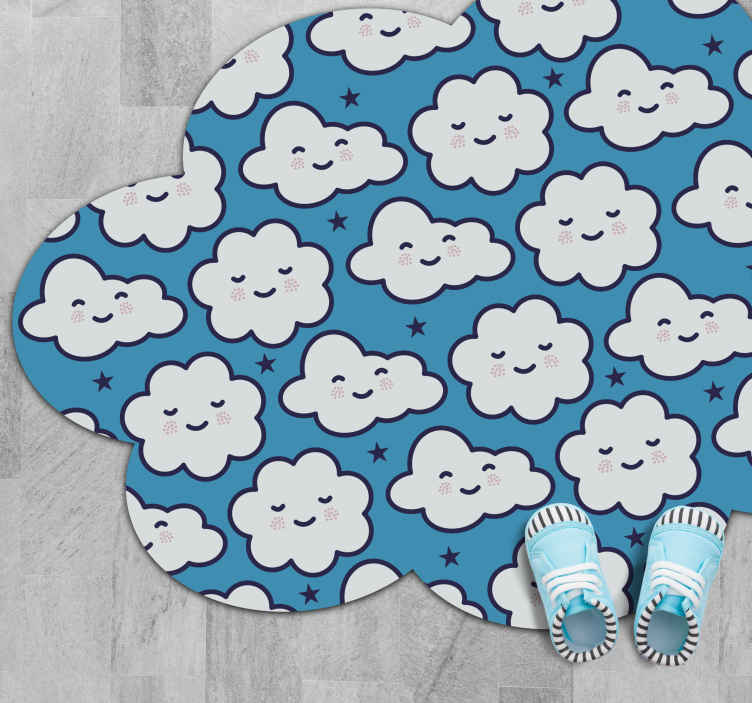 TenStickers. Smiling anime clouds kids vinyl carpet. Get your child this vinyl mat for kids and they will play for hours. The smiling anime cloud vinyl carpet has a great design to entertain.