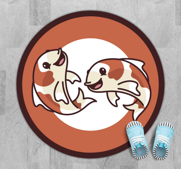 TenVinilo. Alfombra vinilo infantil de peces koi. Alfombra vinilo infantil con peces koi ideal como decoración para tu cocina. Fácil de limpiar y almacenar ¡Descuentos disponibles!