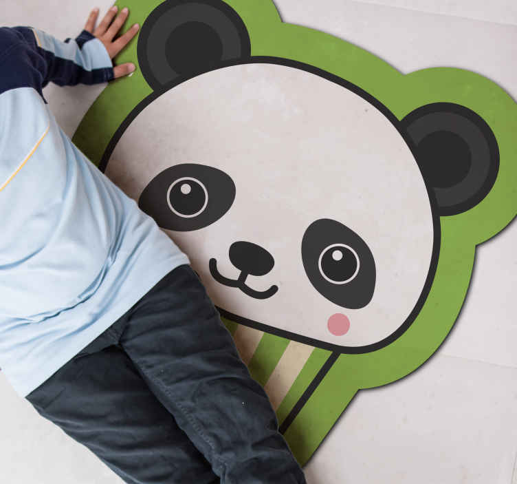 TenStickers. Anime happy Panda animal mat. This vinyl carpet for kids will bring endless hours of fun to your little ones! It features a cute panda bear with a great background.