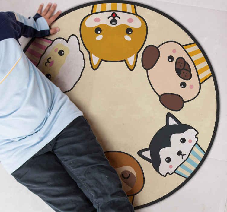 Tenstickers. Anime dyr sirkel dyrematte. Et anime dyr sirkler dyre teppe med en animert illustrasjon av en katt, hund, sauer, etc. Ekstremt langvarig materiale.