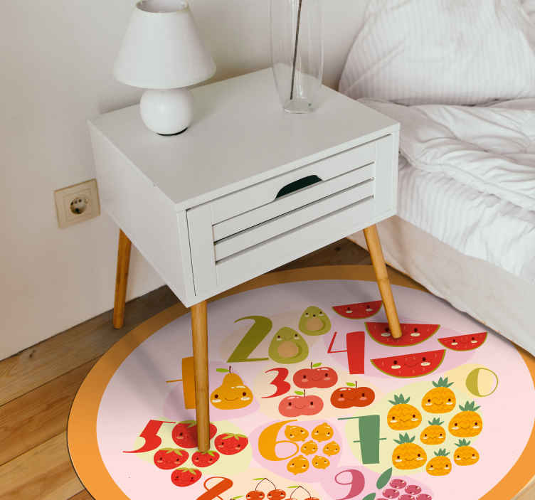 TenStickers. educational road numbers road mat. Vinyl rug with fruits and vegetables. Perfect as a kitchen decoration. Easy to clean and store. Made of high quality materials.