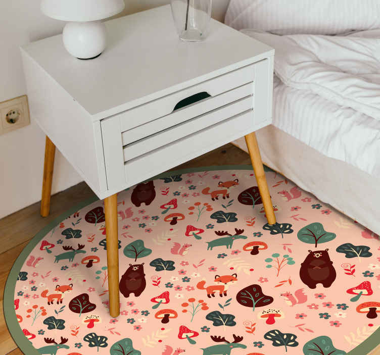 TenStickers. Pink cartoon animals kids vinyl carpet. This awesome and cute cartoon animal vinyl rug will be like the gift of the year to not only yourself, but also to your house! Order it now!