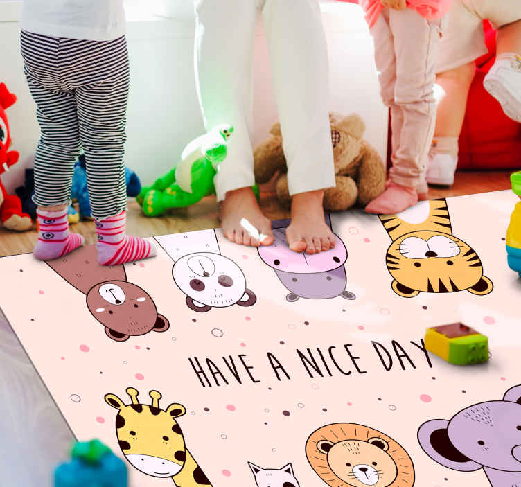 TenStickers. Custom cartoon animal kids vinyl carpet. Your children will not be able to help but fall in love with this custom cartoon animal children vinyl rug! It offers an animal hord.