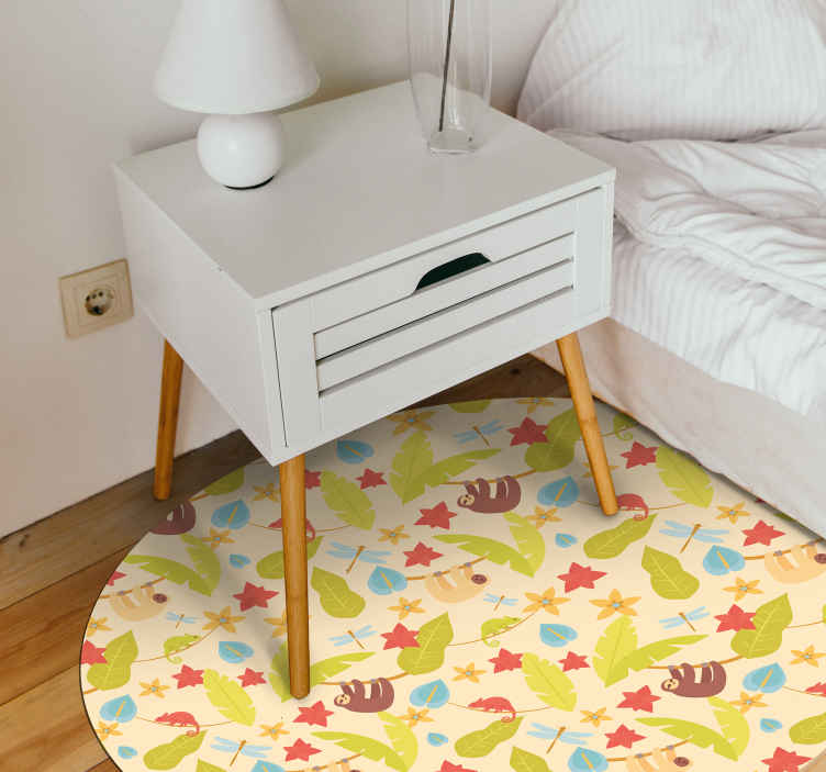 TenStickers. Modern cartoon sloth kids vinyl carpet. A colorful autumn leaves vinyl rug for your kid. If he or she loves autumn than is this the best decoration for their room!