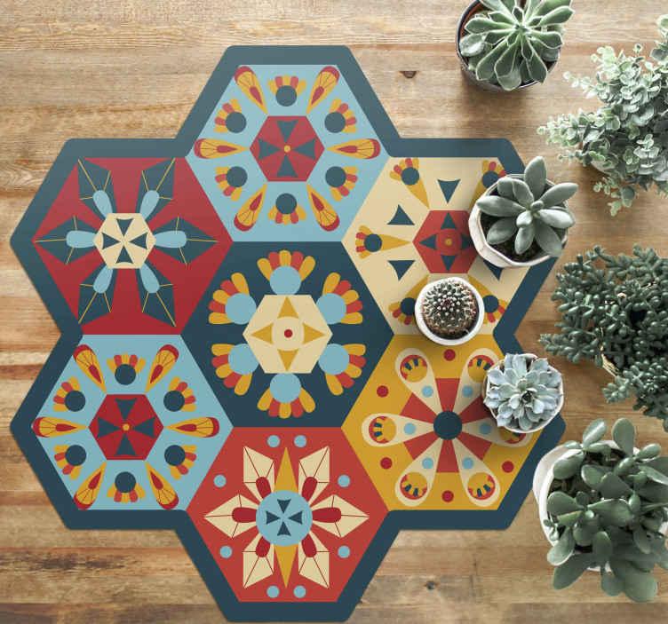 TENSTICKERS. 六角形のタイルタイルマット. 六角形のタイルが施されたビニール製のラグで、フラットの装飾として最適です。お手入れが簡単で、高品質の素材でできています。 100%満足。