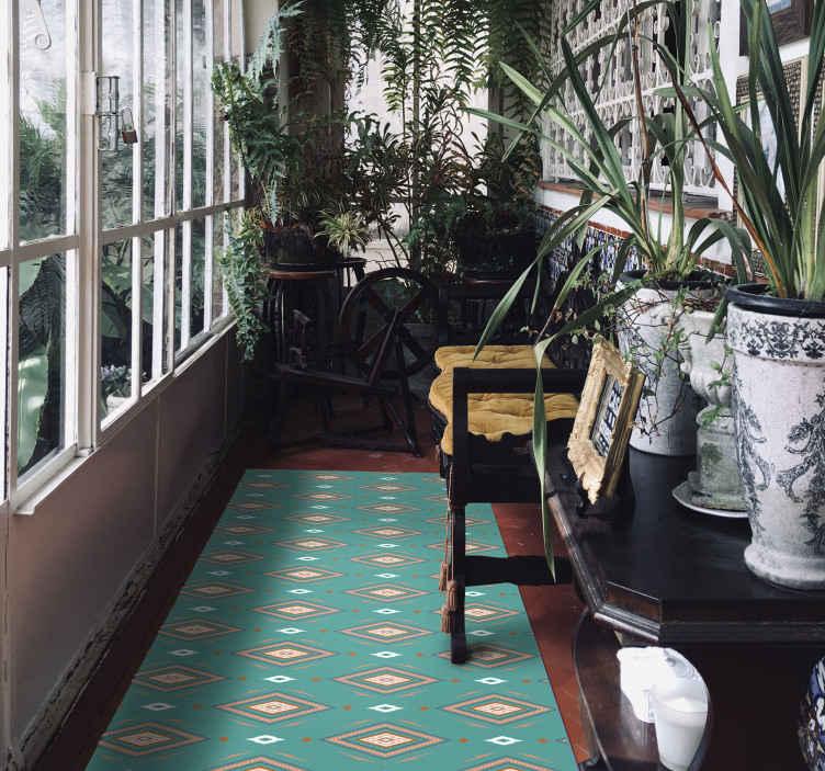 TENSTICKERS. 抽象的なカラフルなダイヤモンドの幾何学的なカーペット. あなたのホールの装飾として完璧な、菱形の緑のビニールの敷物。高品質の素材で作られています。お手入れと保管が簡単です。