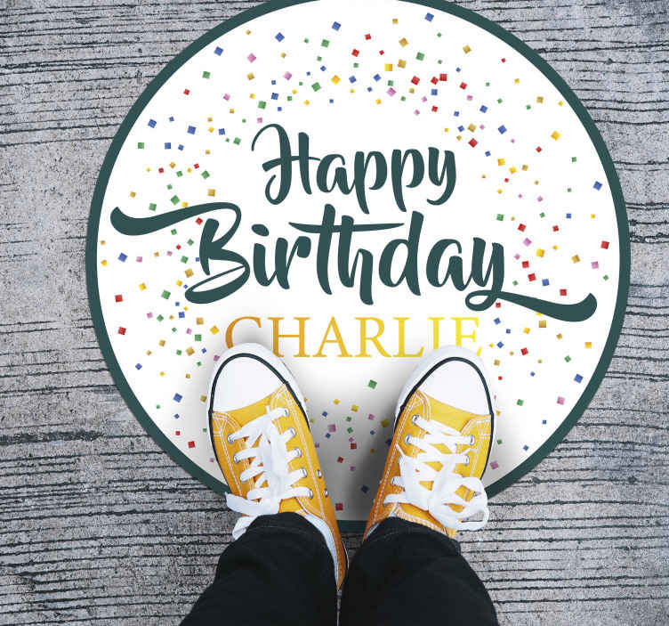 TenStickers. Personalised happy birthday vinyl carpet. Put your name on this personalized happy birthday vinyl rug to celebrate your birthday with the best decoration. High quality product!