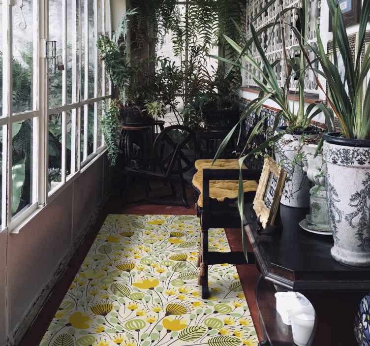 TenStickers. Tapete de vinil de flores de renda floral amarelo. Um tapete em vinil retangular de vinil com flores amarelas para dar um toque elegante e original a qualquer espaço que você queira. Escolha o tamanho que quiser!