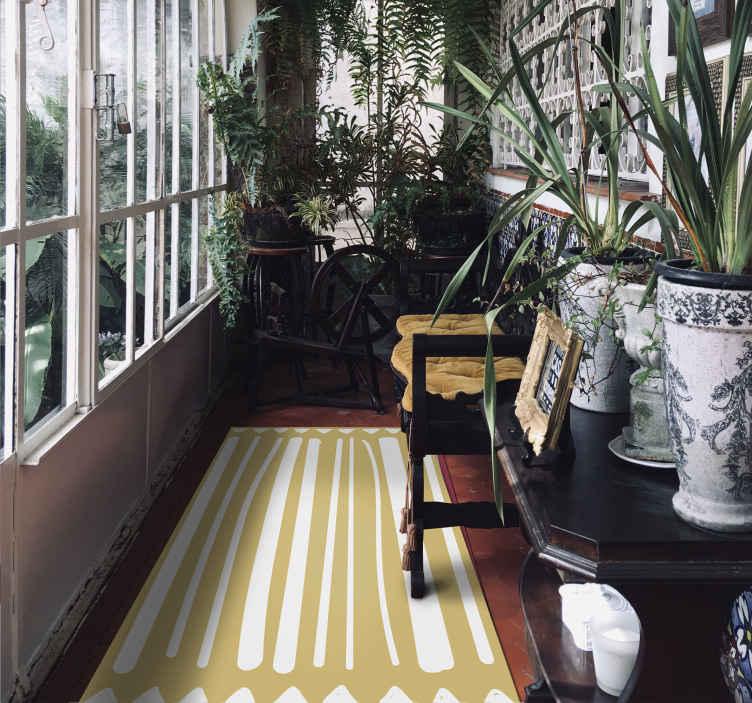 TenStickers. Tapete com riscas amarelas e brancas e triângulos. Tapete de vinil com riscas amarelas, decoração abstrata para seu apartamento. Feito de material de vinil de alta qualidade. Fácil de limpar e armazenar.