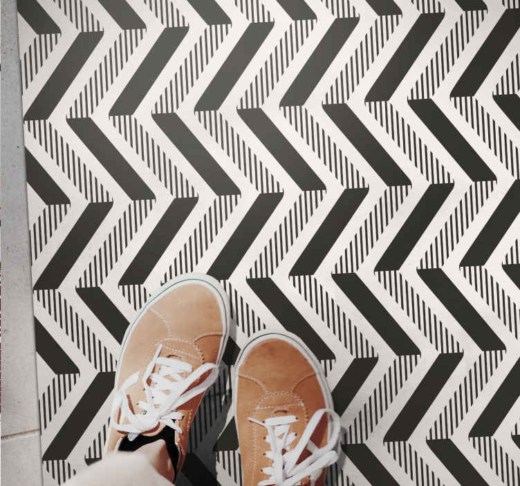 TenStickers. Geometric shades of grey and black carpets. You can decorate our geometric shades of grey and black vinyl rug on any part of your home. It is original, durable and easy to maintain.