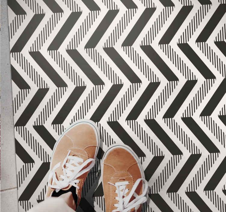 TenStickers. Nuanțe geometrice de covoare gri și negre. Puteți decora nuanțele noastre geometrice de covor de vinil gri și negru pe orice parte a casei dvs. Este original, durabil și ușor de întreținut.