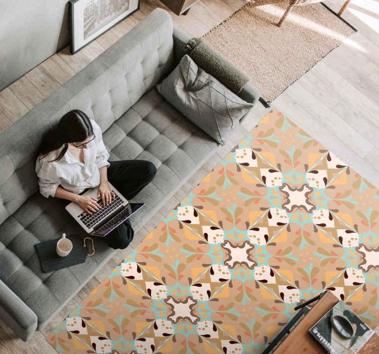 TenStickers. Klasyczny dywan winylowy w płytki. Klasyczny pomarańczowo-zielony dywan winylowy, który nada twojemu domowi klasyczny akcent. Wysokiej jakości produkt dostarczony pod Twoje drzwi!