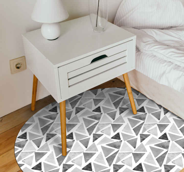 TenStickers. Gray tones triangles geometric vinyl carpets. Original black and grey triangles vinyl rug to decorate your room! Add a sticker of 21x30 with the same design to give your room the final touch!